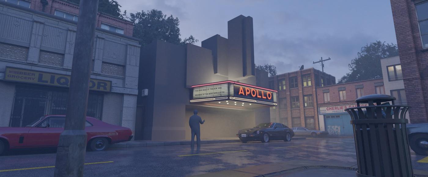 cinema lighting effect city environment modeling
