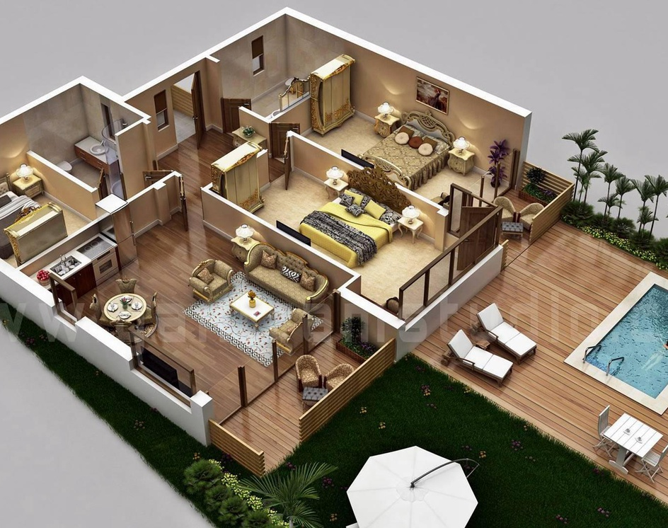 Traditional Residential House 3D Floor Plan Design with Swimming Pool Concept by Architectural Studio, Sydney - Australiaby Ruturaj Desai