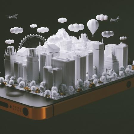 cityscape phone 3d buildings advertisement