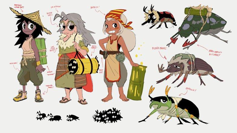 girl and beetle character design