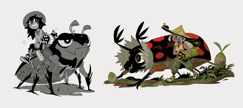 2d illustration girl and beetle