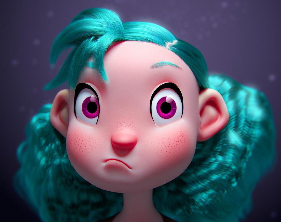 Turquoise Haired Girl / Fan_art /by batjin