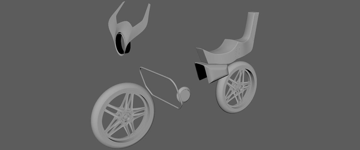 initial base form shape bike render model 3d