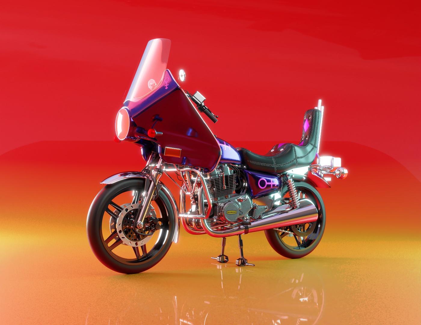 bike render orange colouring detailing modeling render vehicle