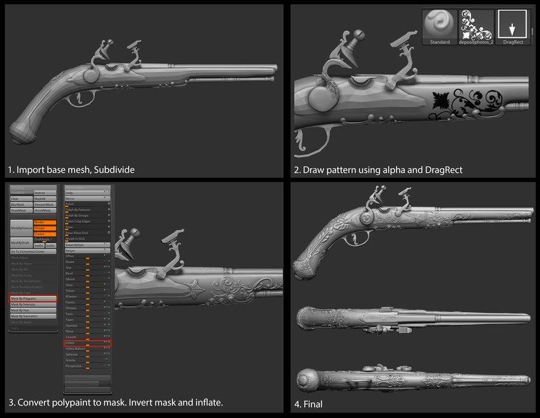 polypaint making 3d model gun