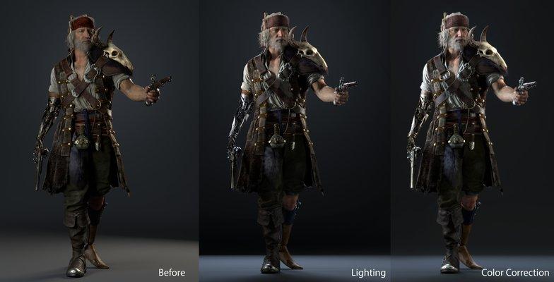 colour corrections 3d pirate male model
