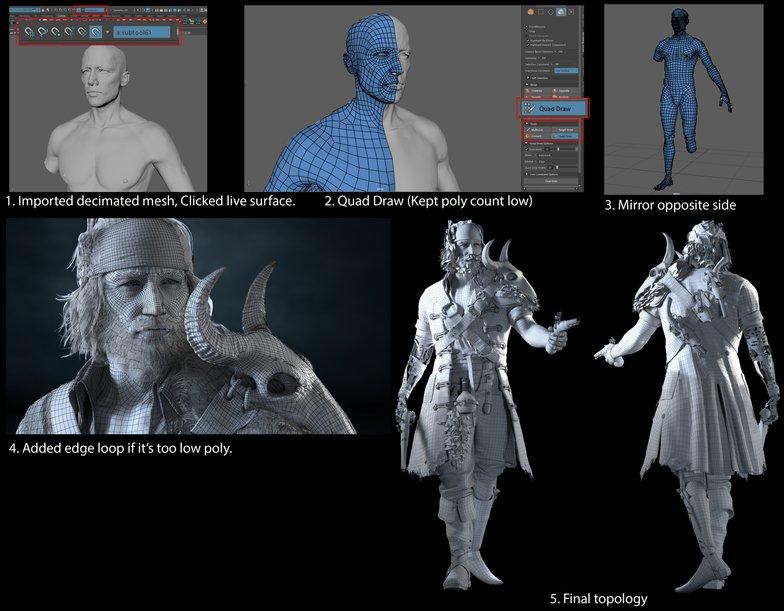 3d model sculputre quads live mesh