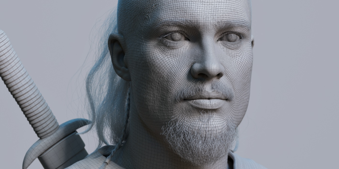 greyscale 3d viking male model realistic render sculpt warrior battleaxe