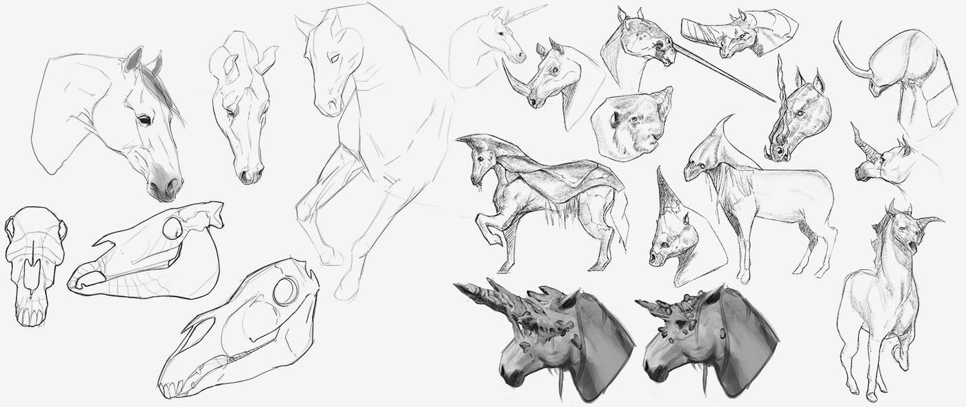 2d illustration digital digital art sketches horses concept design