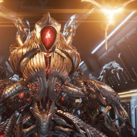 evil robot alien rendering metallic texture