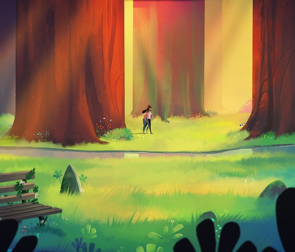 illustration 2d scenery greenery forest