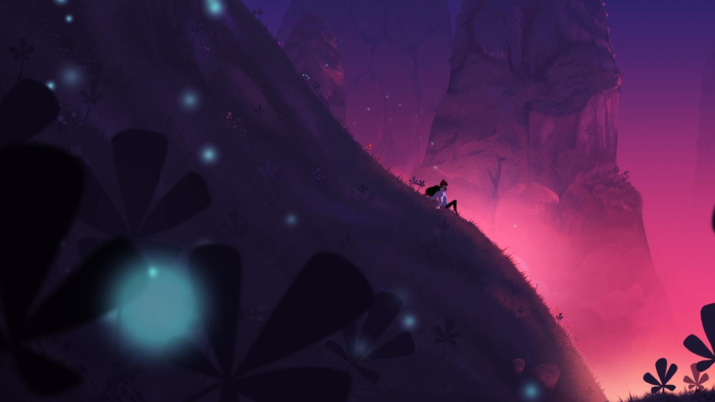 scenery background art purple colour palette