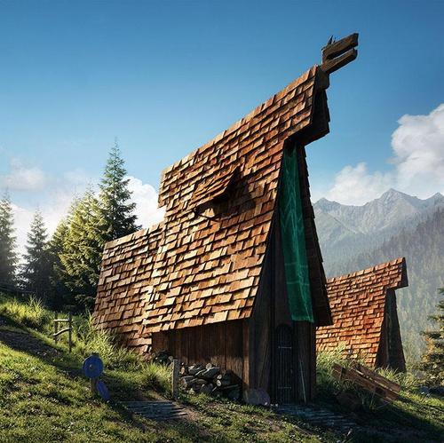 arch-viz 3d concept viking house side