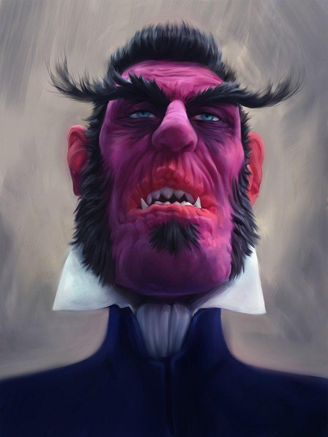Dracula with sharp teeth and torn lips