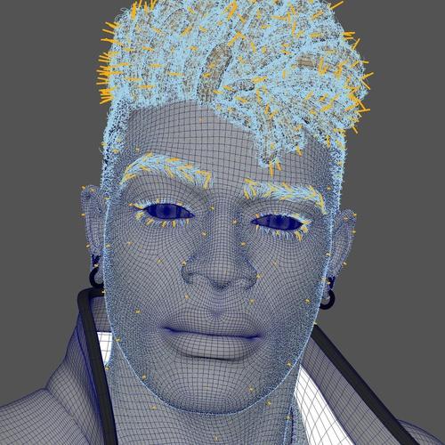 masking 3d modeling hair character