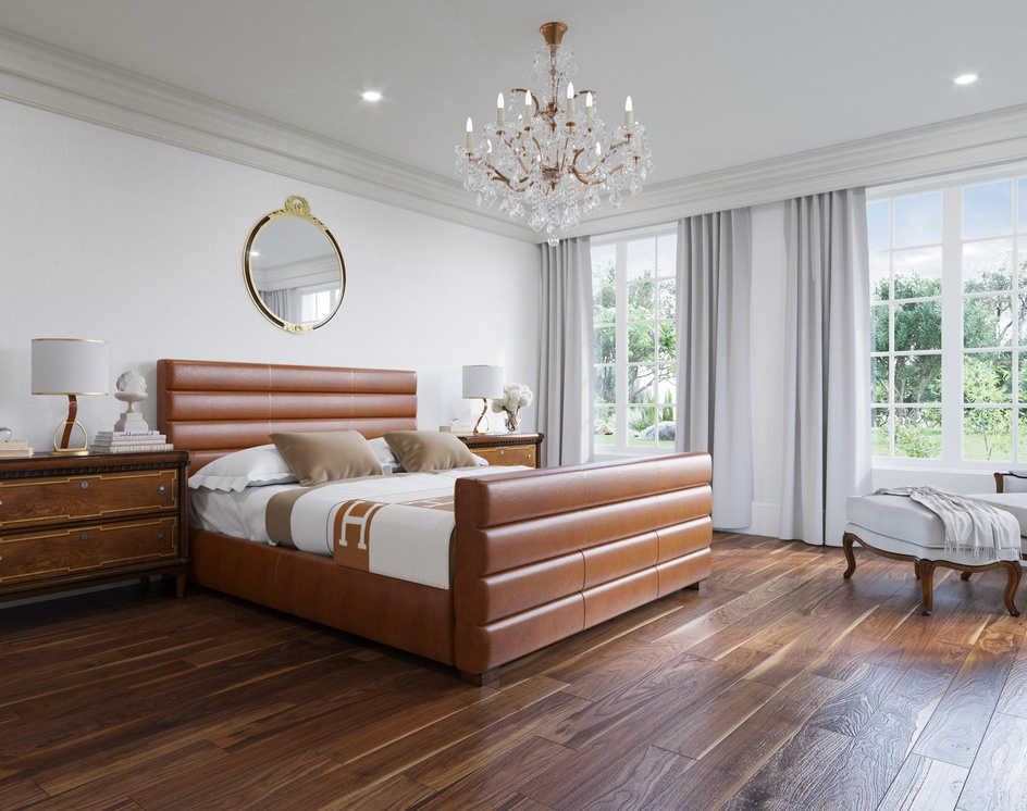 Luxurious White and Walnut Bedroomby DEER Design