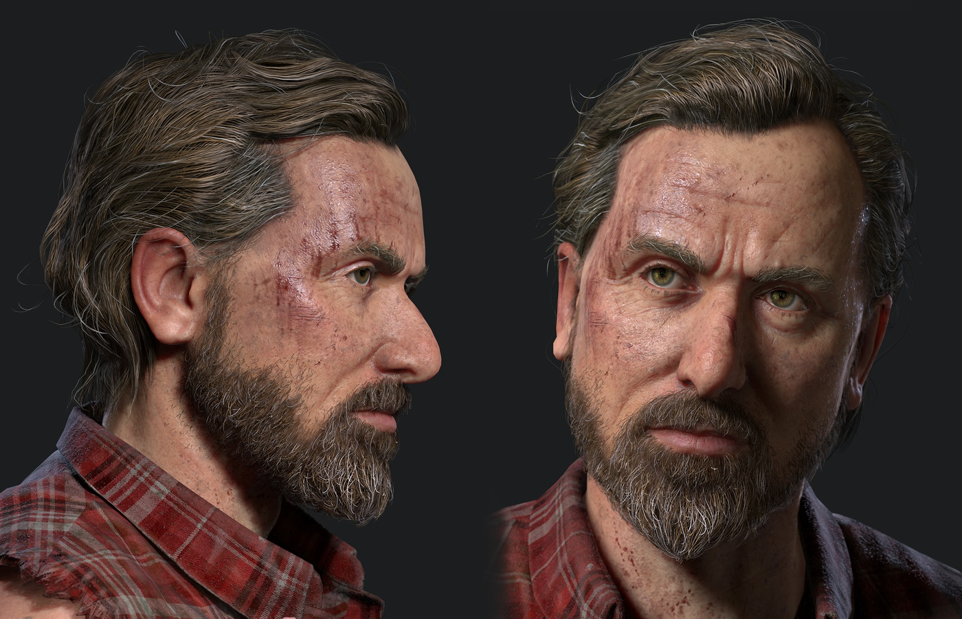 close up male character design 3d