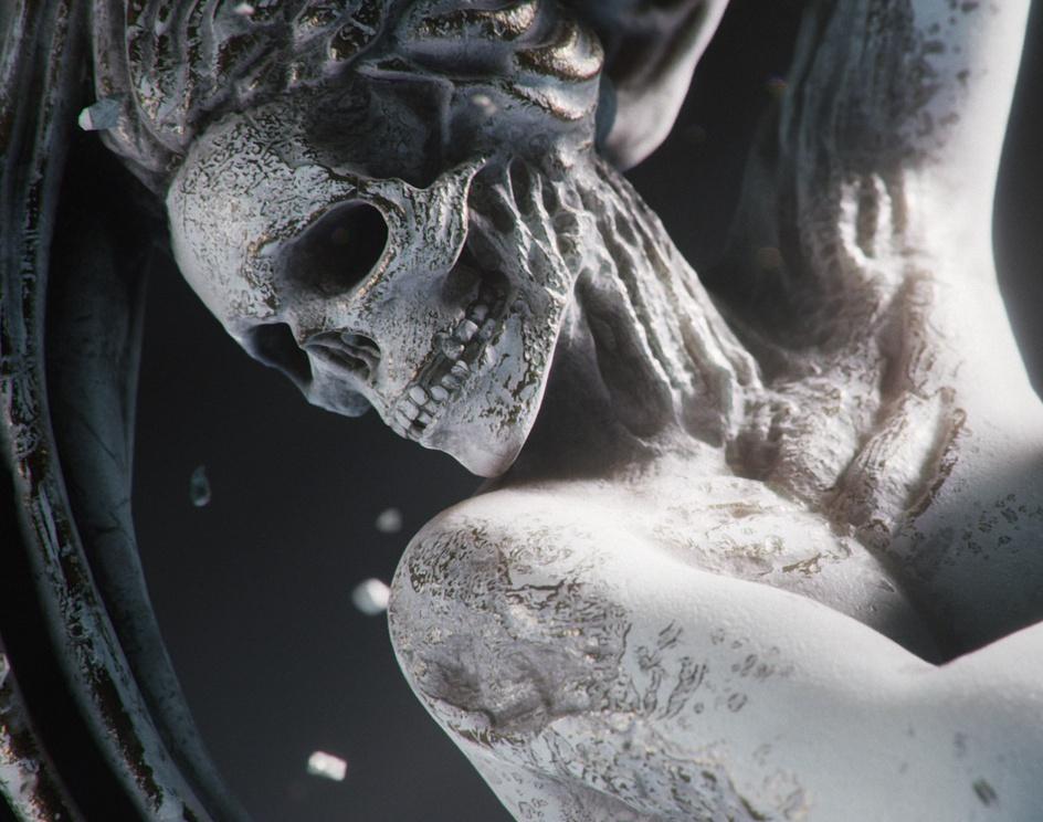 Stone statue of the skull by unreal engine testby Hirokazu Yokohara