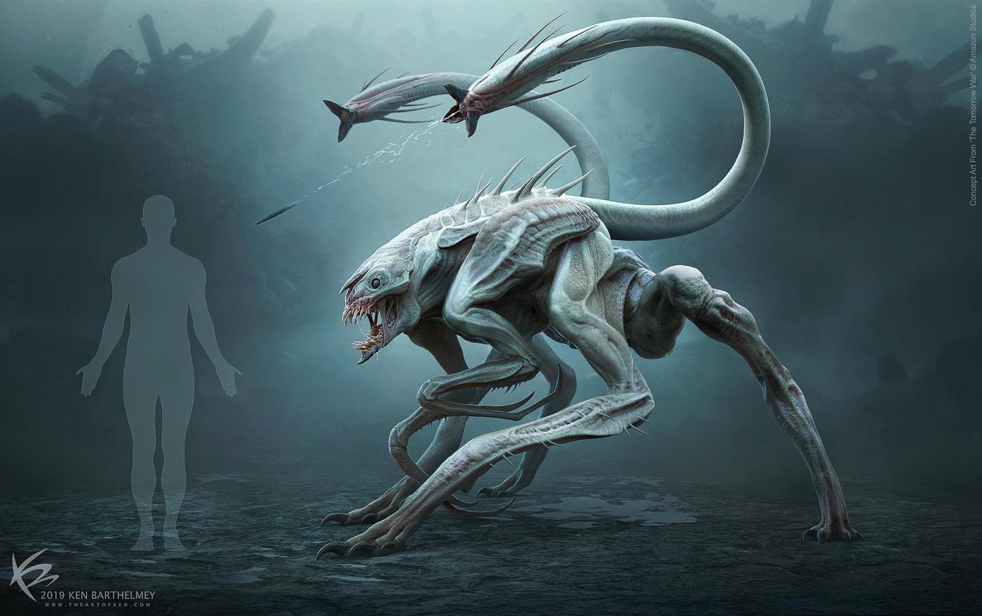 white spike the tomorrow war 3d creature design render model