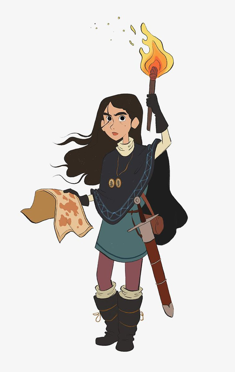 girl holding map and torch