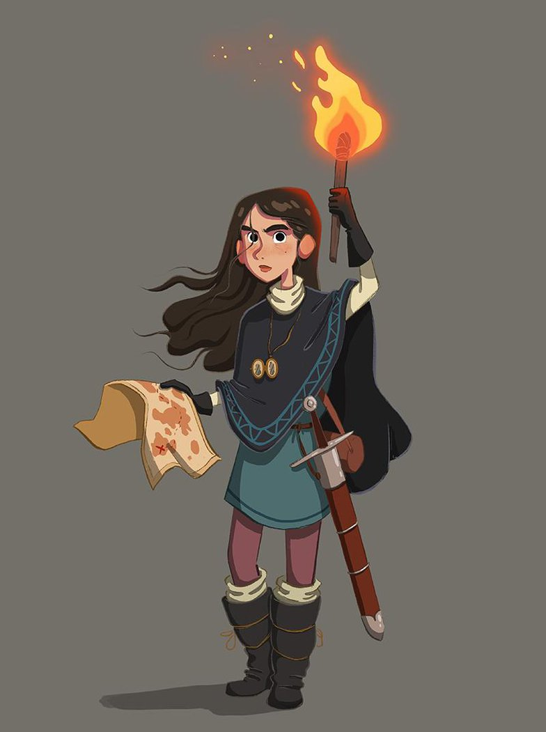 girl holding map and torch art