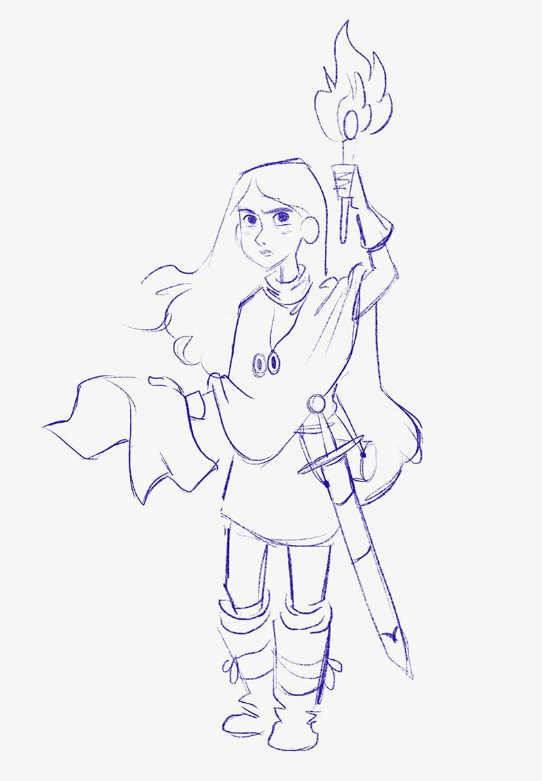 rough sketch girl with torch