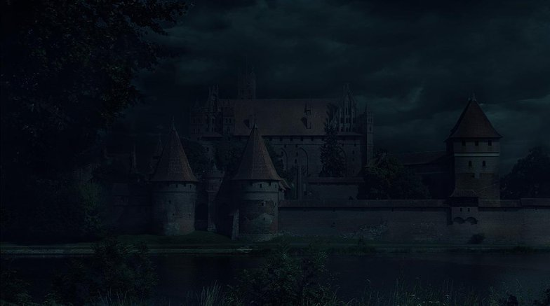 clouds, castle, matte painting, photoshop, night