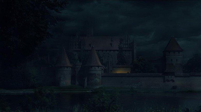 night, light, castle, matte painting, photoshop,