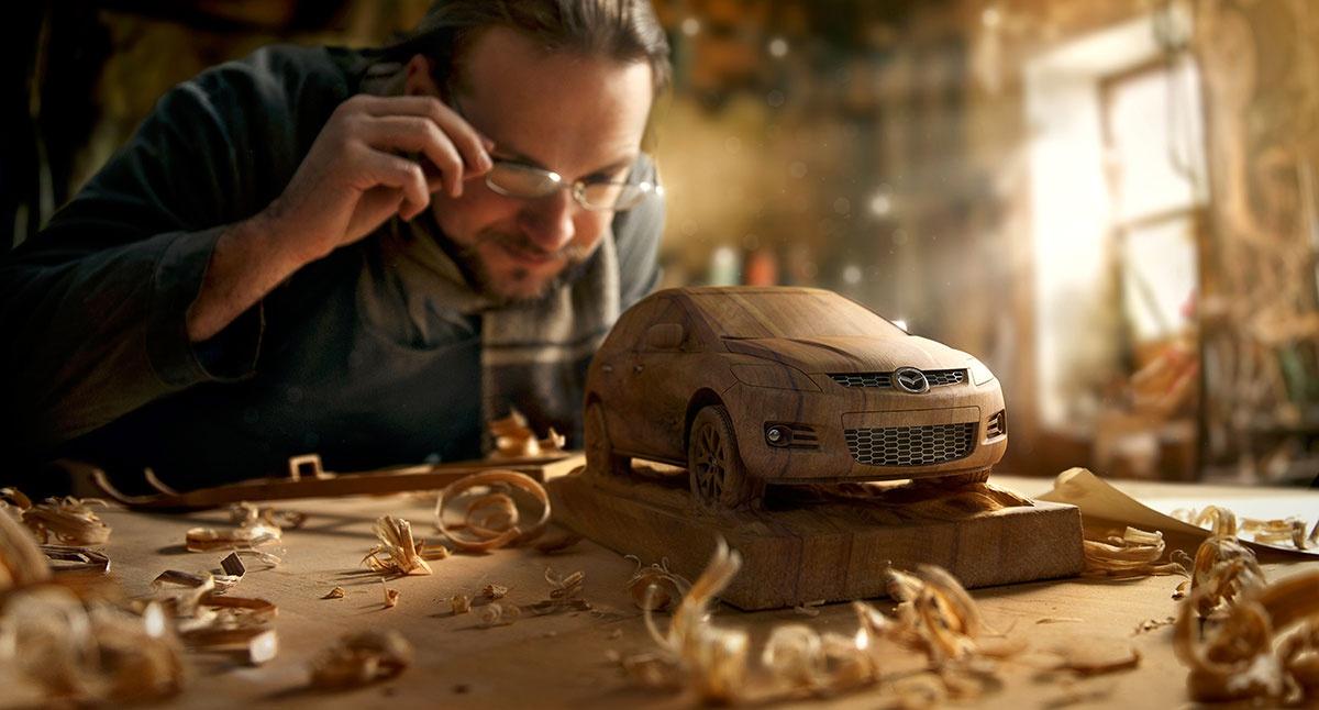 woodworker with car