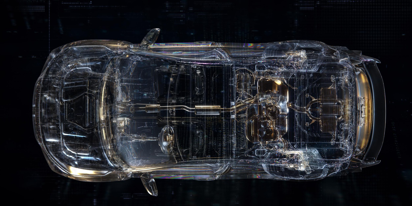 automotive x-ray series car model render transparent effect