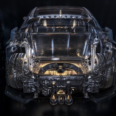 automotive x-ray series car model render transparent effect front