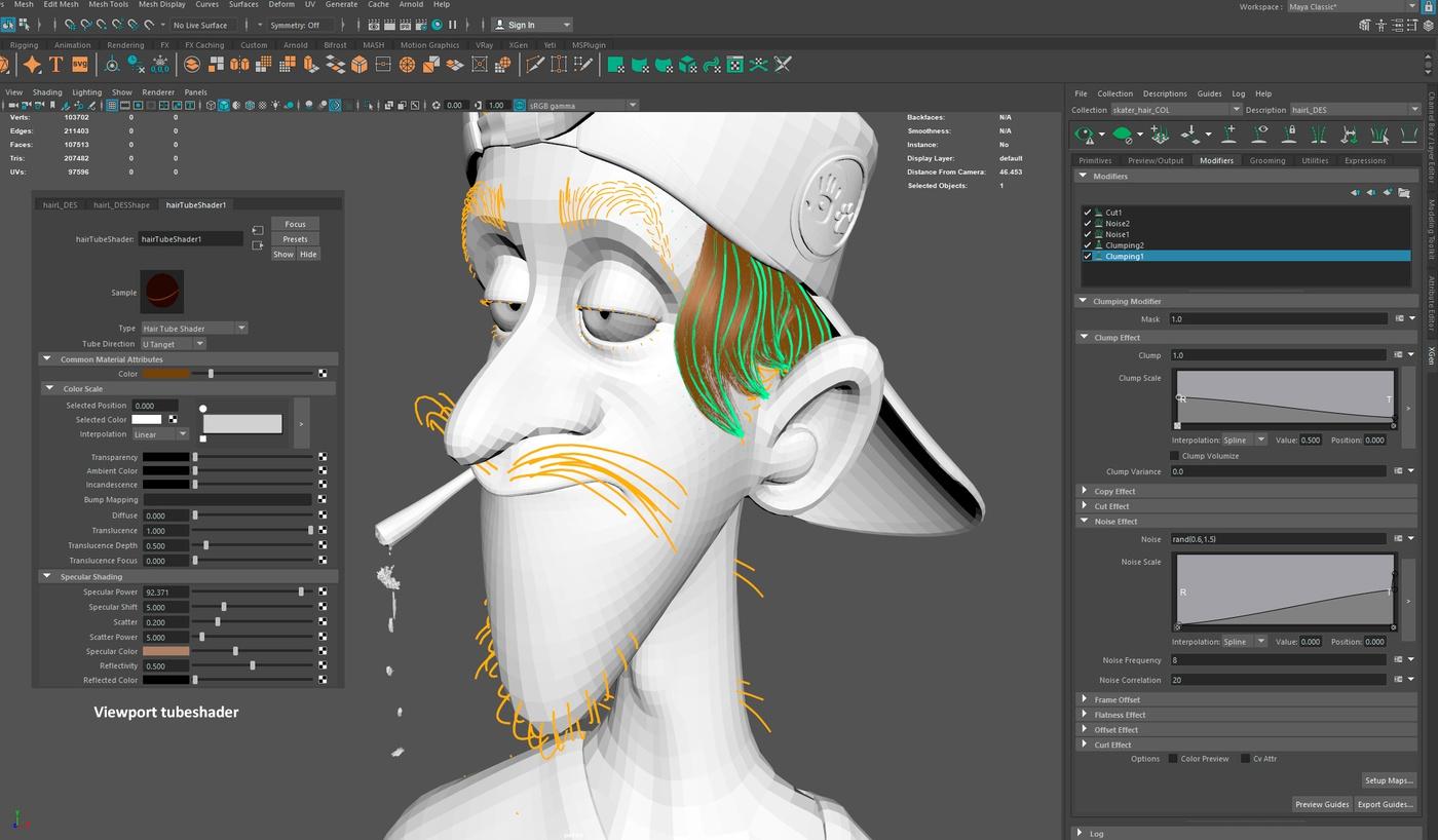 xgen modifier stack render model 3d character