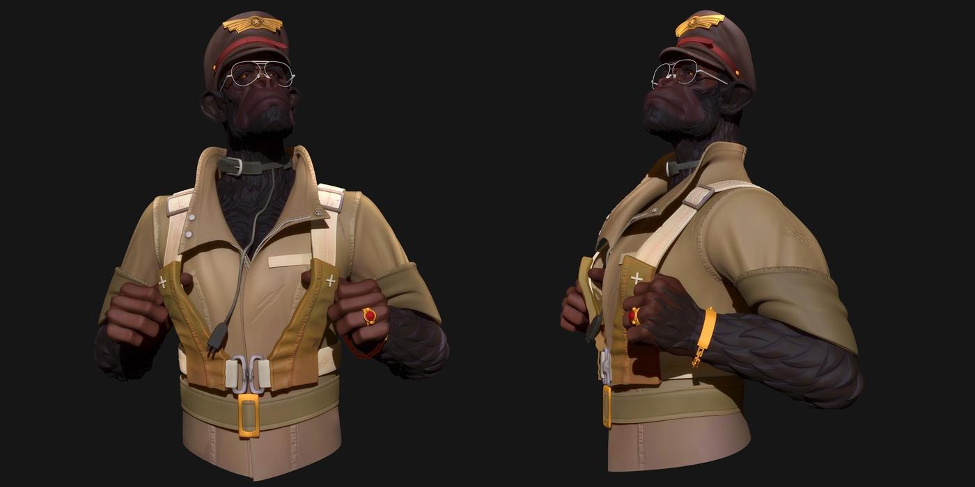 monkey character design 3d model render flat colours