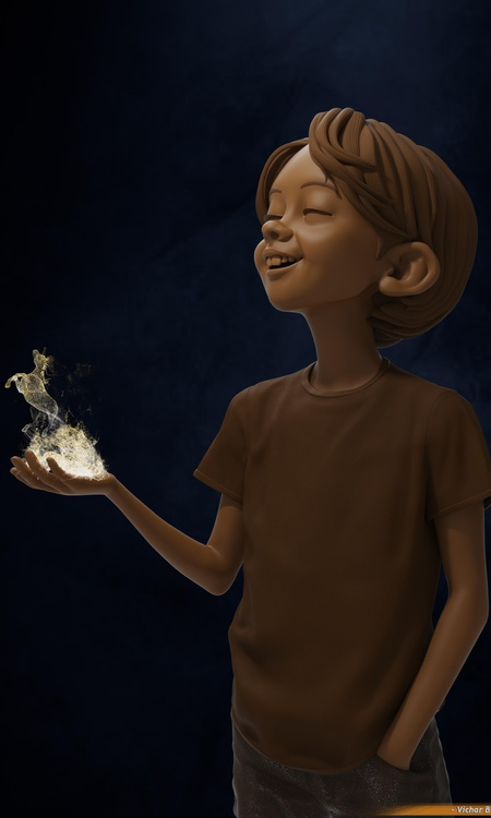 boy witch flame render model character design fire 3d