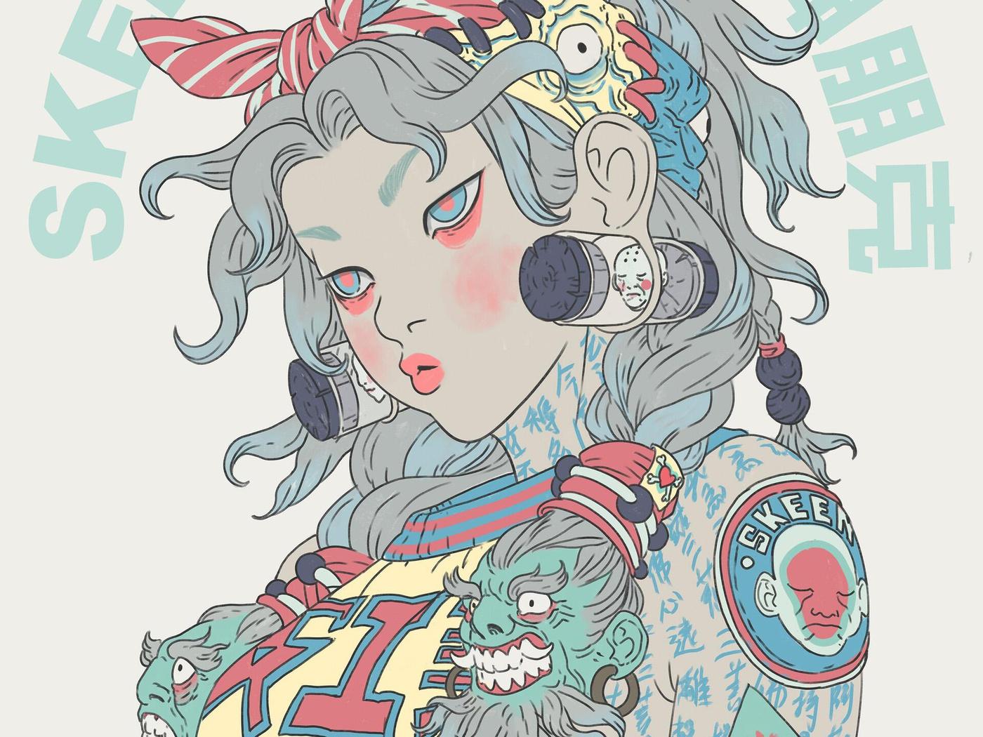 Asian female character design illustration